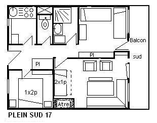 Location au ski Appartement 3 pièces 6 personnes (17) - Residence Le Plein Sud - Méribel - Plan
