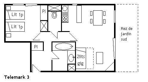 Location au ski Appartement 2 pièces 4 personnes (3) - Résidence le Télémark - Méribel - Plan