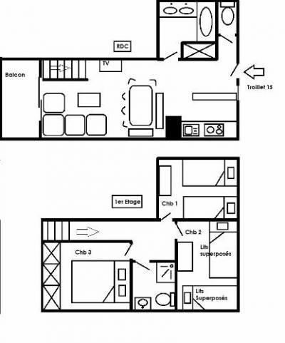 Location au ski Appartement duplex 4 pièces 6 personnes (15) - Residence Le Troillet - Méribel - Plan
