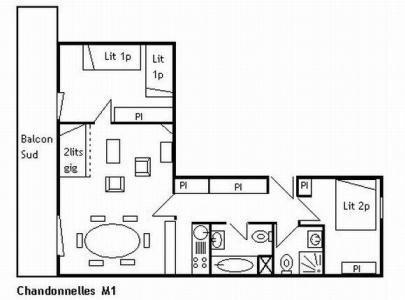 Location au ski Appartement 3 pièces 6 personnes (M1) - Residence Les Chandonnelles I - Méribel - Plan