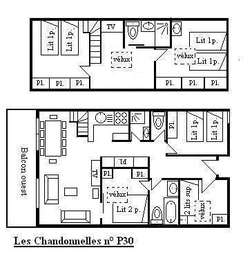 Location au ski Appartement 6 pièces 10 personnes (30) - Résidence les Chandonnelles II - Méribel - Plan