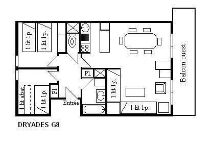 Location au ski Appartement 3 pièces 6 personnes (G8) - Residence Les Dryades - Méribel - Plan