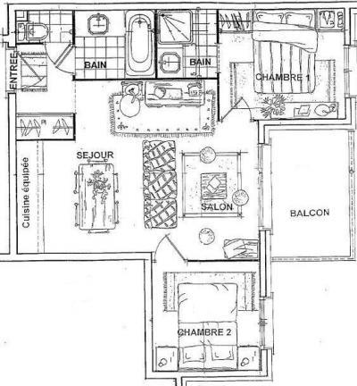Location au ski Appartement 3 pièces 6 personnes (14) - Residence Les Fermes De Meribel Bat D1 - Méribel - Plan