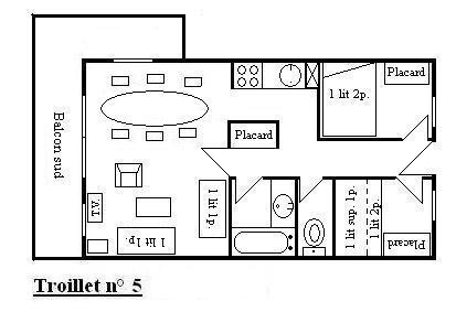 Location au ski Appartement 3 pièces 6 personnes (5) - Résidence Troillet - Méribel - Plan