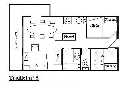 Location au ski Appartement 3 pièces 6 personnes (5) - Residence Troillet - Méribel - Plan