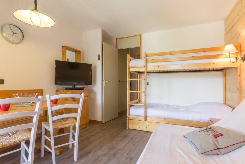 Location au ski Studio 3 personnes (5) - La Residence Le De 2 - Montchavin - La Plagne - Lits superposés
