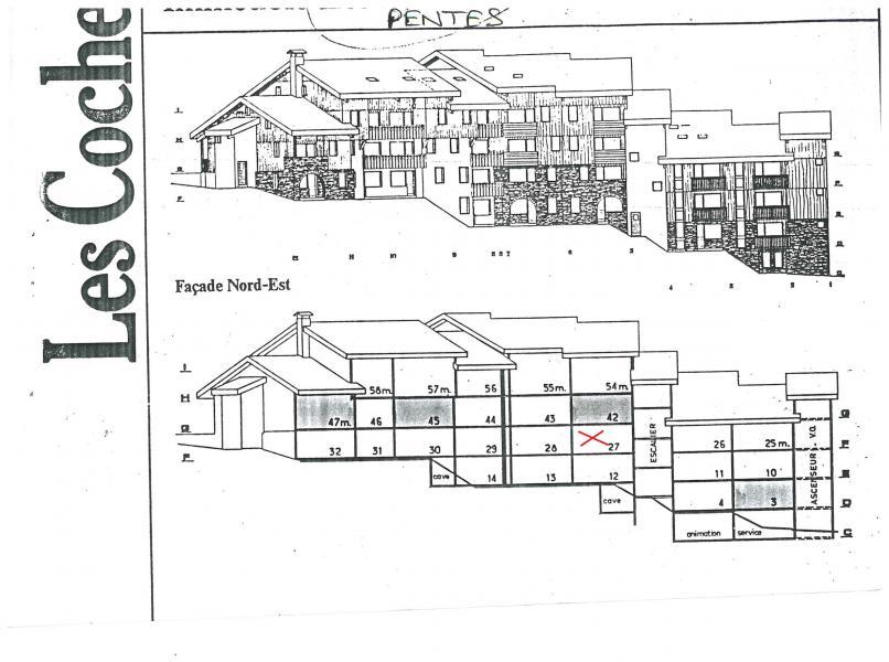 Location au ski Studio 4 personnes (027) - La Résidence les Pentes - Montchavin La Plagne - Plan