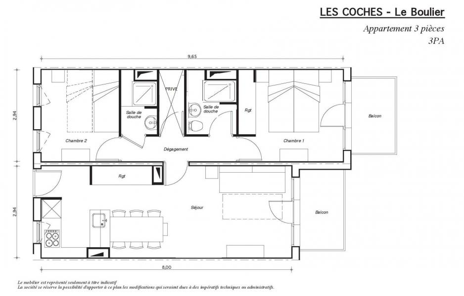 Location au ski Appartement 3 pièces 6 personnes - Résidence le Boulier - Montchavin La Plagne - Plan
