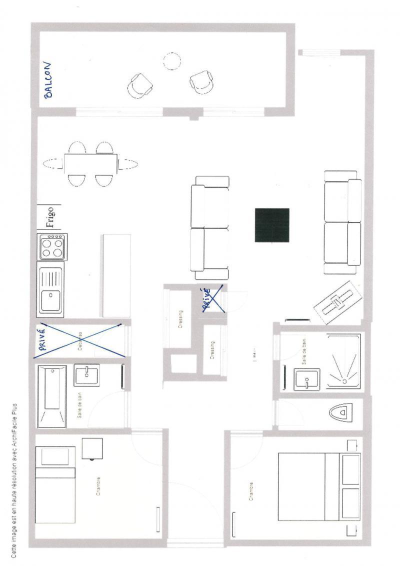 Wynajem na narty Apartament 3 pokojowy 5 osób (012) - Résidence le Damier - Montchavin La Plagne - Plan