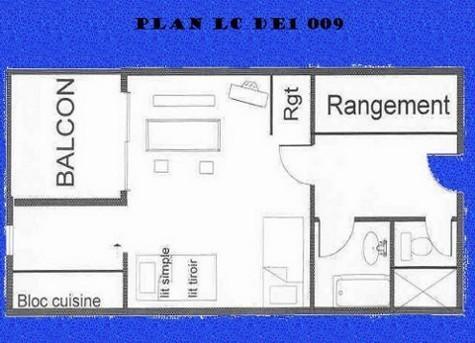 Location au ski Studio 3 personnes (009) - Résidence le Dé 1 - Montchavin La Plagne - Plan
