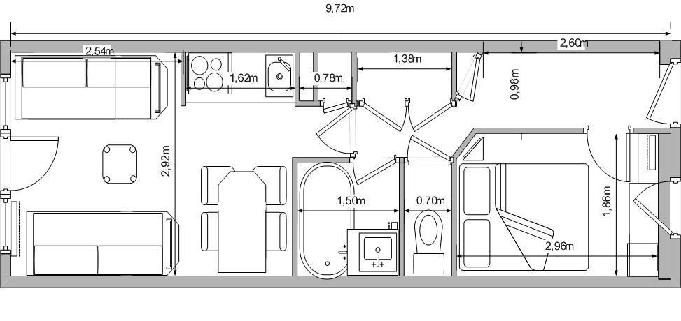 Location au ski Appartement 2 pièces 5 personnes (107) - Résidence Sextant - Montchavin La Plagne - Plan