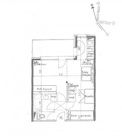 Location au ski Studio 4 personnes (016) - La Résidence la Lanterne - Montchavin La Plagne - Plan