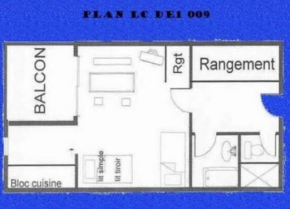 Location au ski Studio 3 personnes (009) - Residence Le De 1 - Montchavin - La Plagne - Plan
