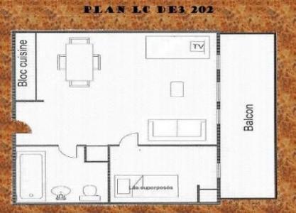 Location au ski Studio coin montagne 4 personnes (202) - Résidence le Dé 3 - Montchavin La Plagne - Plan