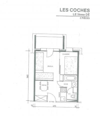 Location au ski Appartement 2 pièces 4 personnes (008) - Résidence le Dé 3 - Montchavin La Plagne - Plan