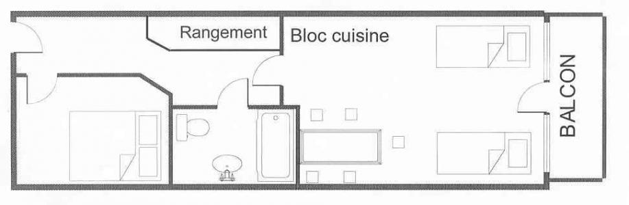Location au ski Appartement 2 pièces 5 personnes (521) - Résidence le Dé 4 - Montchavin La Plagne - Plan