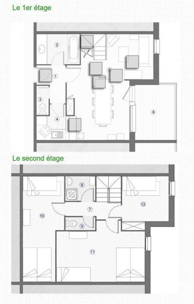 Location au ski Appartement duplex 4 pièces 9 personnes (052) - Résidence Trompe l'Oeil - Montchavin La Plagne - Plan