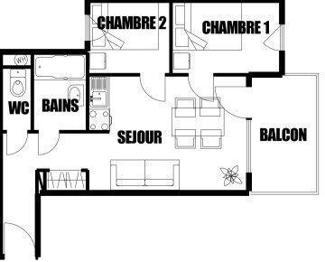 Location au ski Appartement 3 pièces 6 personnes (02) - Residence Gelinotte - Morillon - Plan