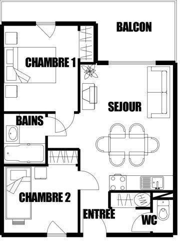 Аренда на лыжном курорте Апартаменты 3 комнат 7 чел. (02) - Résidence Refuge de l'Alpage - Morillon - план