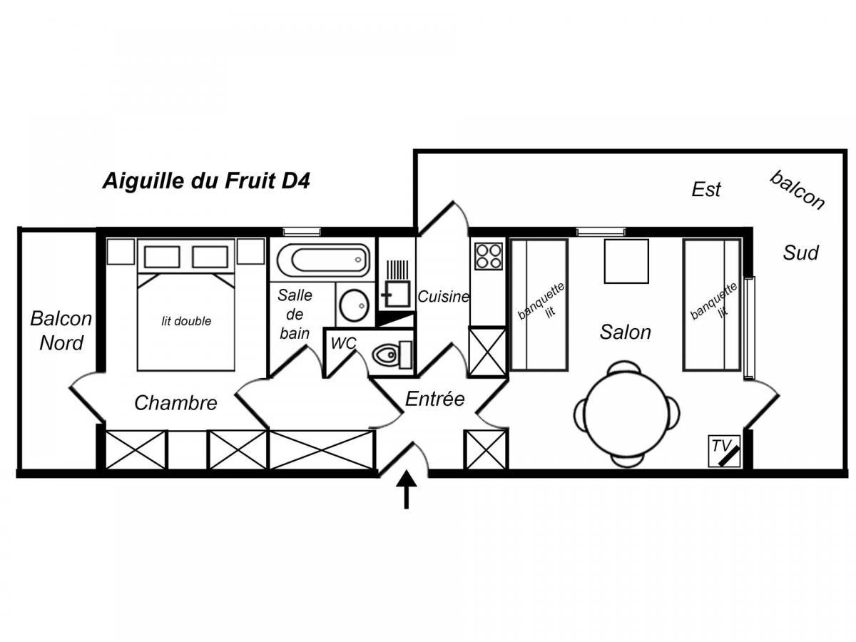 Location au ski Appartement 2 pièces 4 personnes (004) - Residence Aiguille Du Fruit - Mottaret