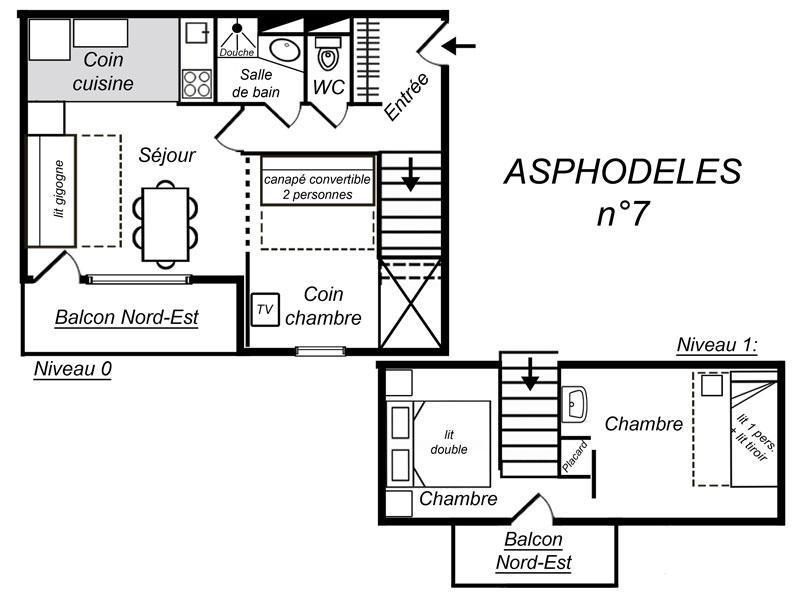 Location au ski Appartement duplex 3 pièces 7 personnes (007) - Residence Asphodeles - Mottaret - Salle d'eau