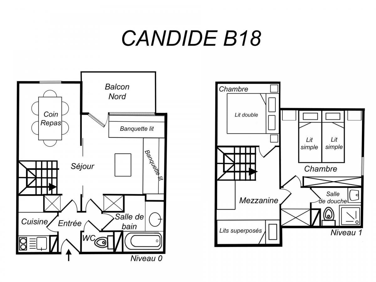 Location au ski Appartement duplex 3 pièces 6 personnes (B18) - Residence Candide - Mottaret - Douche