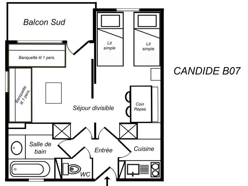 Location au ski Appartement 1 pièces 4 personnes (B07) - Residence Candide - Mottaret - Extérieur hiver