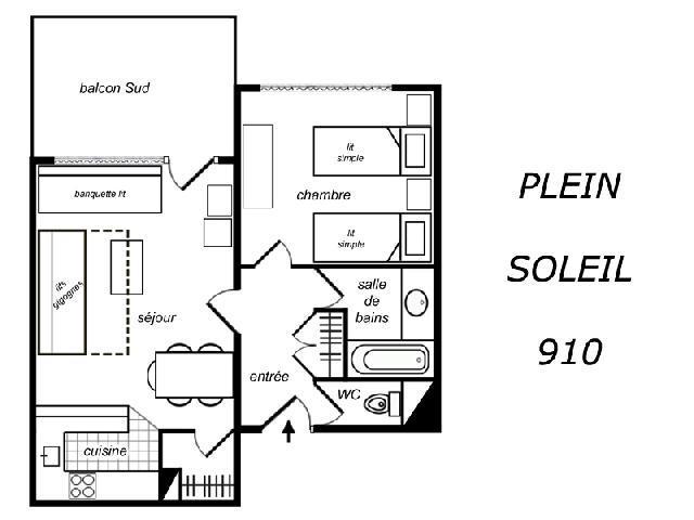 Location au ski Appartement 2 pièces 5 personnes (910) - Residence Plein Soleil - Mottaret