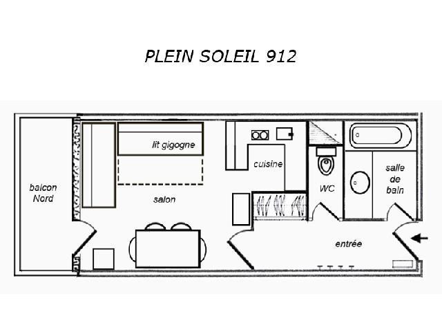 Location au ski Studio 2 personnes (912) - Residence Plein Soleil - Mottaret