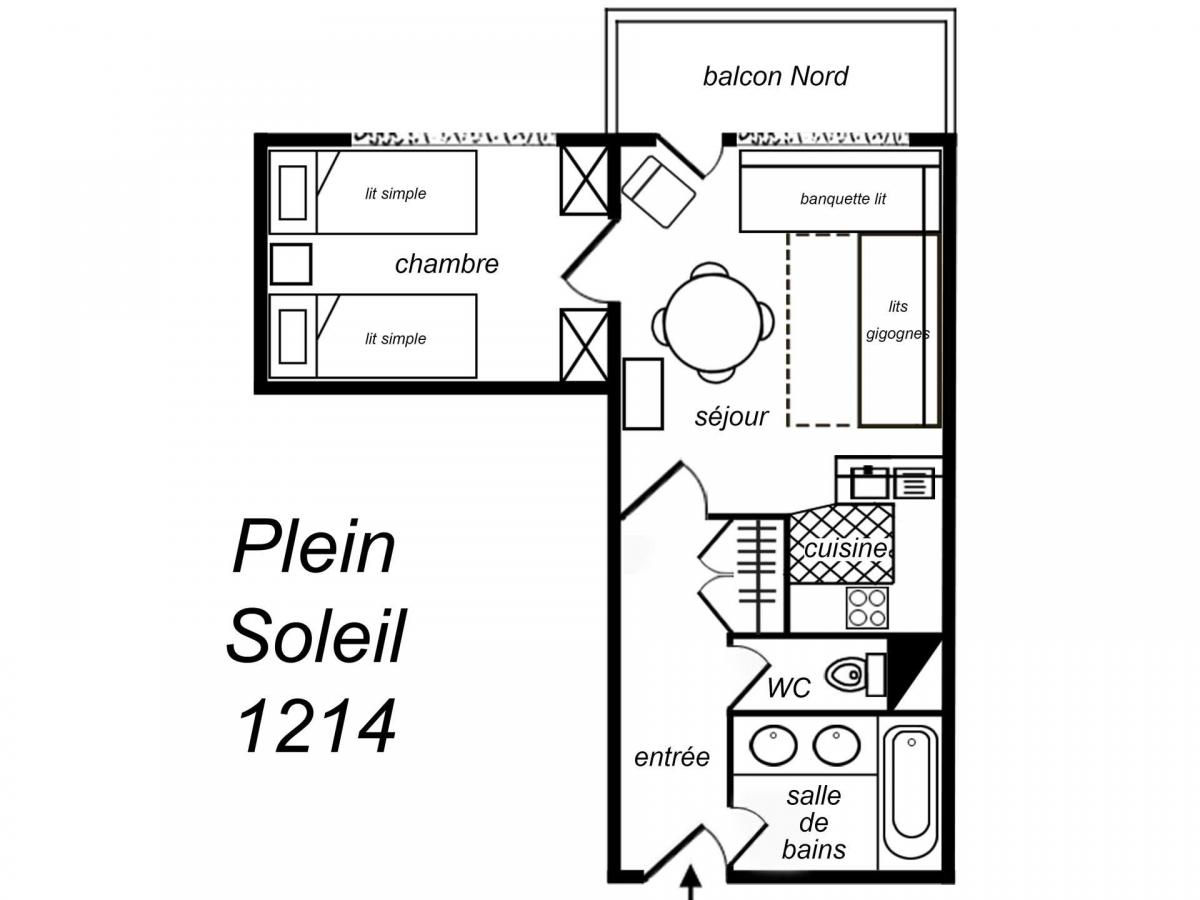 Location au ski Appartement 2 pièces 4 personnes (1214) - Residence Plein Soleil - Mottaret - Kitchenette