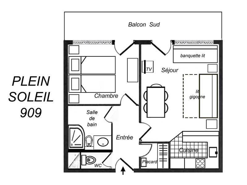 Location au ski Appartement 2 pièces 5 personnes (909) - Residence Plein Soleil - Mottaret - Douche