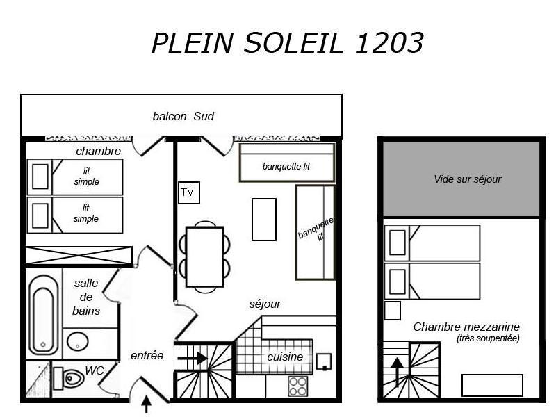 Location au ski Appartement 2 pièces mezzanine 6 personnes (1203) - Residence Plein Soleil - Mottaret - Coin séjour
