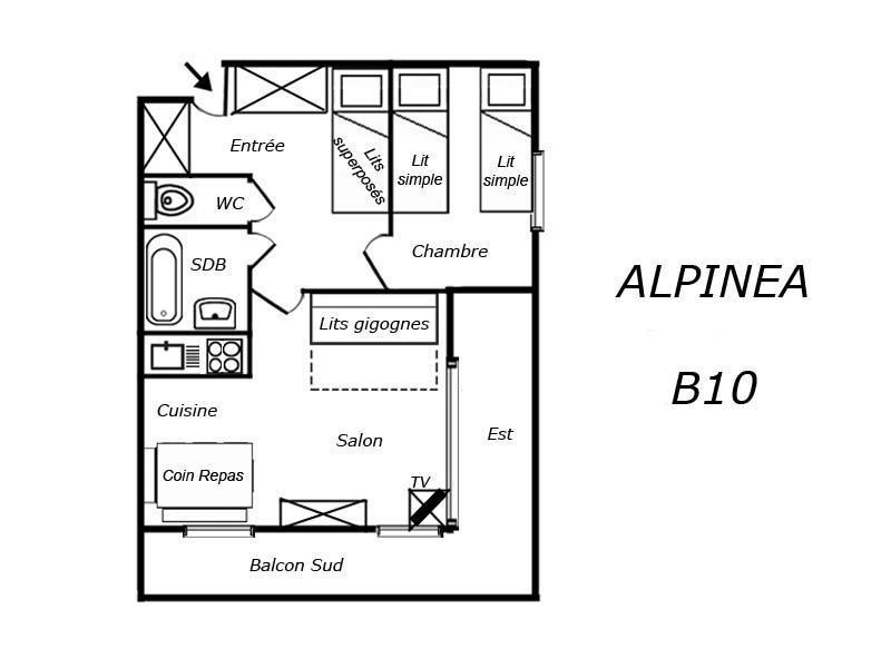 Location au ski Appartement 2 pièces 4 personnes (B10) - Residence Alpinea - Méribel-Mottaret - Plan