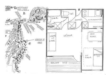 Location au ski Studio 4 personnes (04) - Residence L'aiguille Du Fruit - Mottaret - Plan