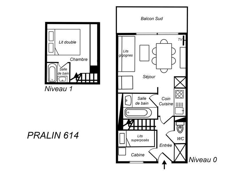 Location au ski Appartement duplex 2 pièces cabine 6 personnes (614) - Residence Le Pralin - Méribel-Mottaret