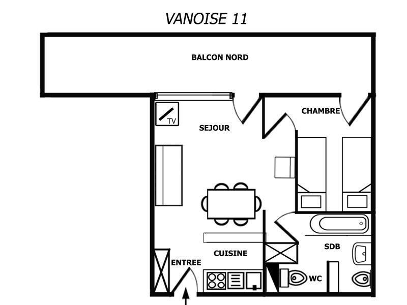 Location au ski Appartement 2 pièces 4 personnes (011) - Residence Vanoise - Méribel-Mottaret