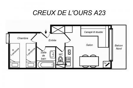 Location au ski Appartement 2 pièces 4 personnes (06) - Residence Creux De L'ours Rouge - Mottaret