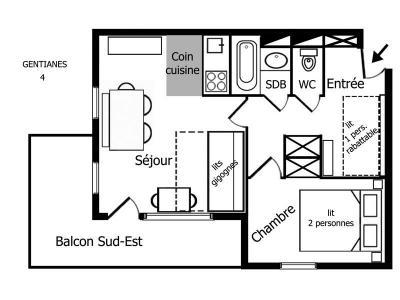 Location au ski Appartement 2 pièces 4 personnes (004) - Residence Gentianes - Mottaret - Kitchenette