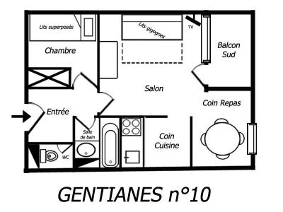 Location au ski Studio cabine 4 personnes (10) - Residence Gentianes - Mottaret - Kitchenette