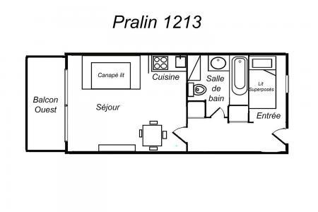 Location au ski Appartement 2 pièces 4 personnes (101) - Residence Le Pralin - Mottaret