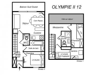 Location au ski Appartement duplex 4 pièces 6 personnes (12) - Residence Olympie Ii - Mottaret