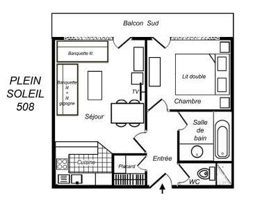 Location au ski Appartement 2 pièces 5 personnes (508) - Residence Plein Soleil - Mottaret - Banquette