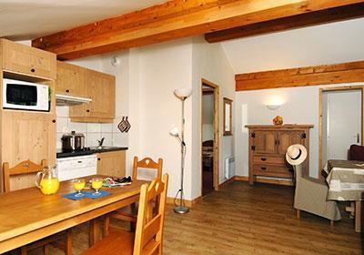 Location au ski Residence Les Belles Roches - Notre Dame de Bellecombe - Cuisine ouverte