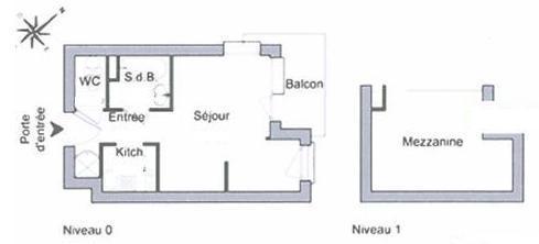 Skiverleih Studio für 4 Personen (420) - Résidence Michailles - Peisey-Vallandry - Plan