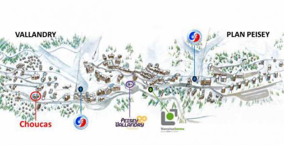 Location au ski Appartement 3 pièces cabine 6 personnes (11) - Residence Choucas - Peisey-Vallandry - Plan