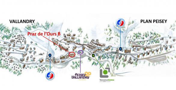 Rent in ski resort Résidence Praz de l'Ours B - Peisey-Vallandry - Plan