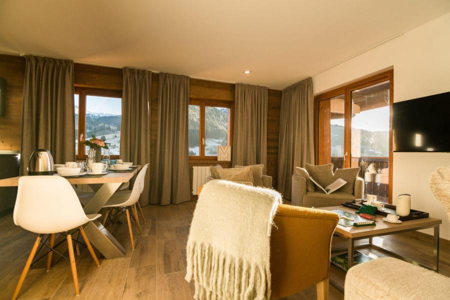 Location au ski Résidence Les Portes de Megève - Praz sur Arly - Coin séjour