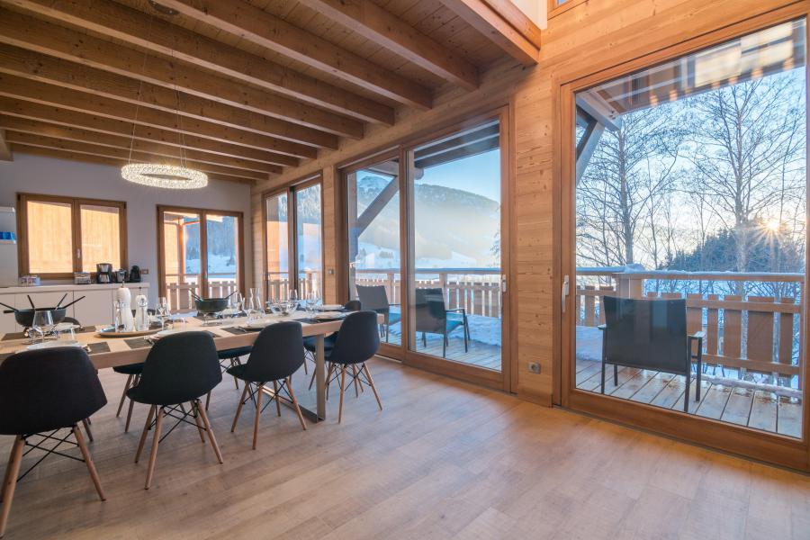 Ski verhuur Résidence Les Portes de Megève - Praz sur Arly - Eetkamer