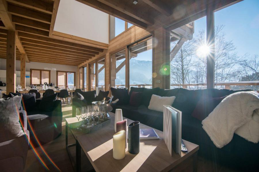 Ski verhuur Résidence Les Portes de Megève - Praz sur Arly - Woonkamer