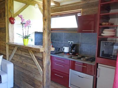 Rent in ski resort 1 room apartment 4 people (2) - Castel des Roches - Saint Gervais - Open-plan kitchen